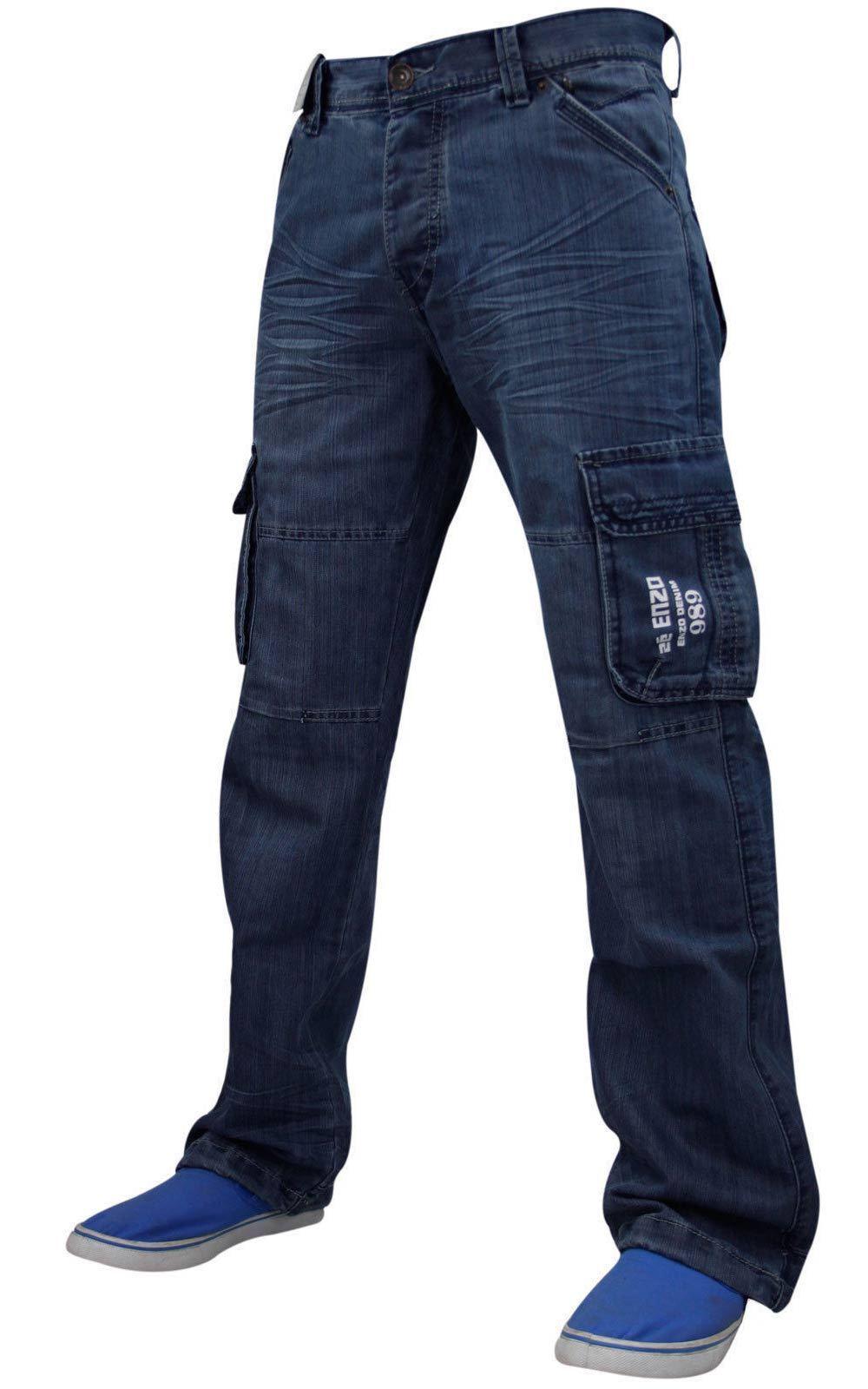 aabd2795634 Nuevo Enzo hombres combate carga pantalones de mezclilla moda tallas 28 a  50 Jeans
