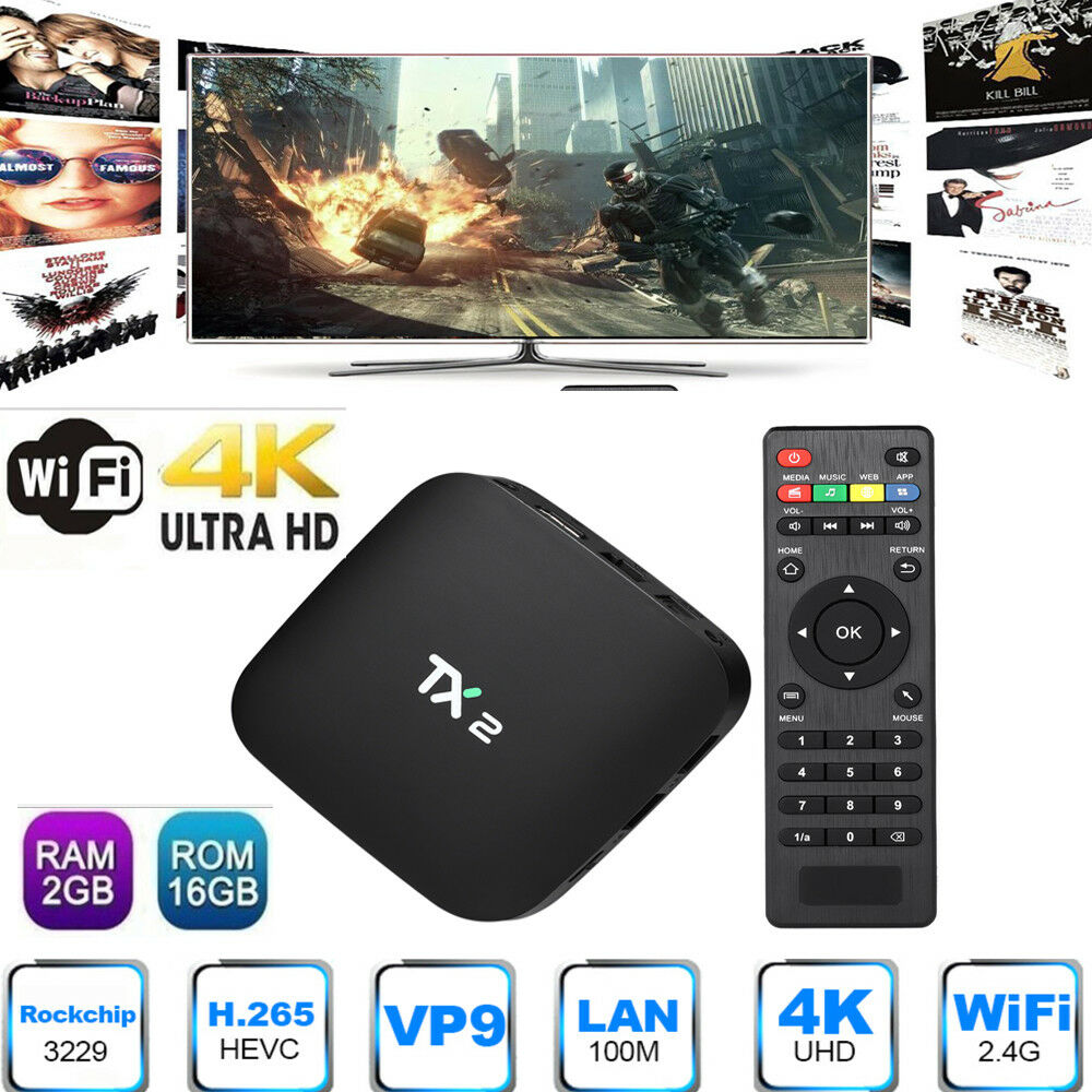 TX2 RK3229 Cortex Processor 2G+16G HD 4K×2K 3D WIFI Android6.0 Smart TV BOX T6T4