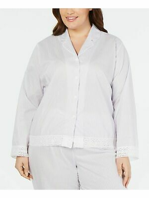 Details about  /NWT Charter Club Size XXXL Ticking Stripe Printed Knit Notch-Collar Pajama Top