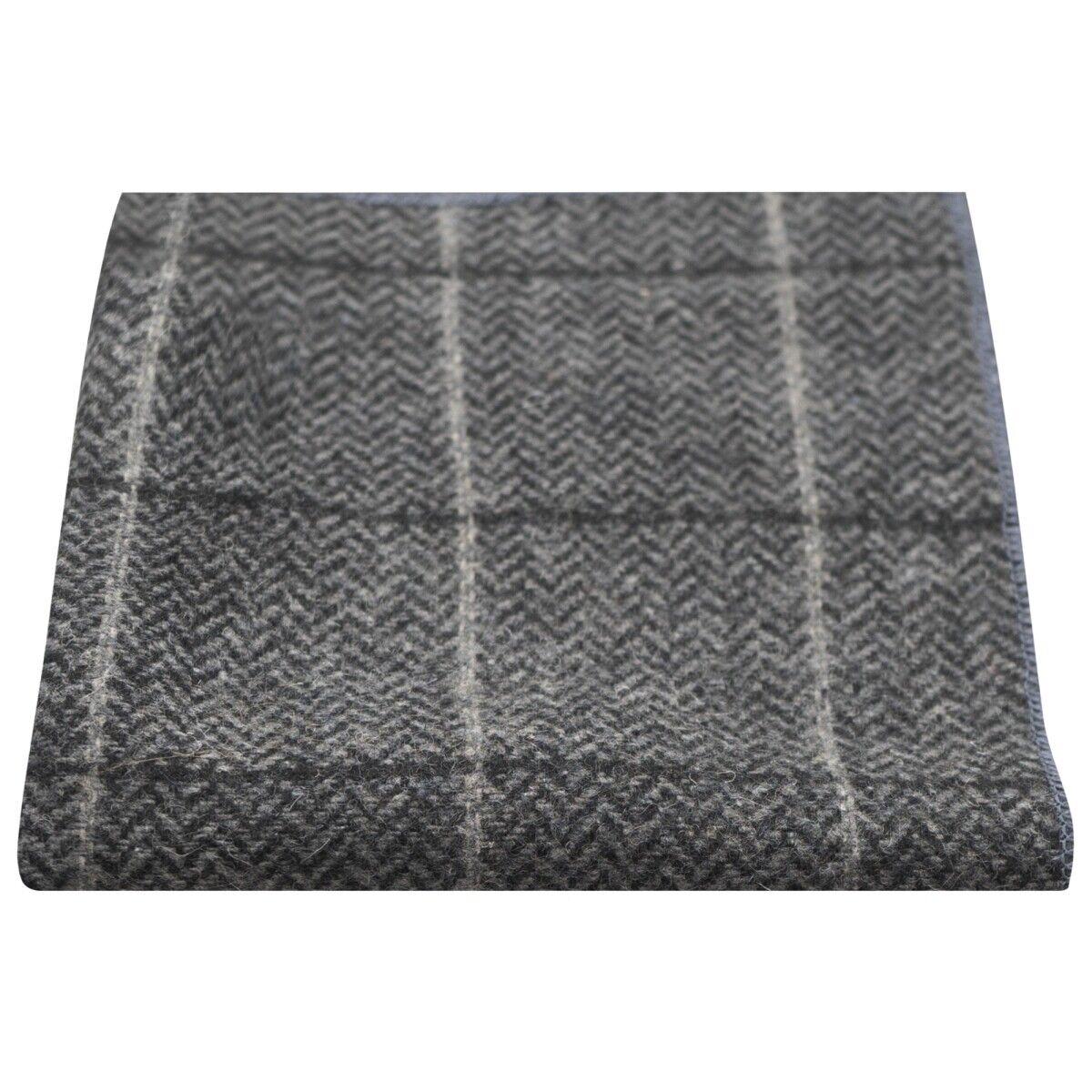 Luxury Graphite Grey Herringbone Check Tweed Pocket Square, Handkerchief