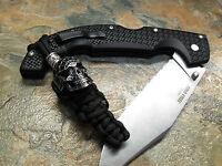 Black Paracord Knife Lanyard Spiderman Skull Silver Chain Bead American Made