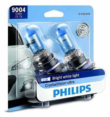 2 Pack Philips Genuine 9004CVB2 CrystalVision Ultra Upgrade Headlight Bulb
