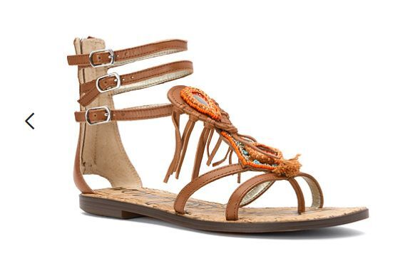 ce6e3417c Sam Edelman Genesee Gladiator Fringe Beaded Sandals - Saddle 10 US   40 EU