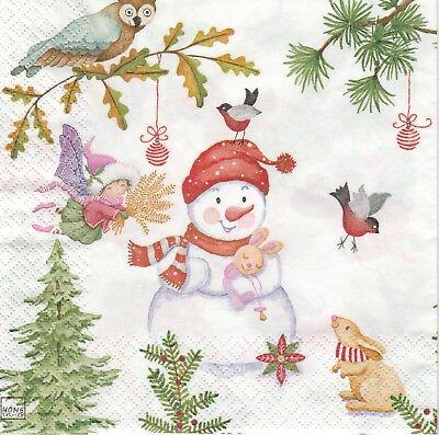 4 Single Paper Napkins//Decoupage//Craft//Christmas//Playful Fairies Winter