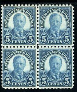 USAstamps Unused VF US Serie of 1923 Roosevelt Block Scott 586 OG MNH