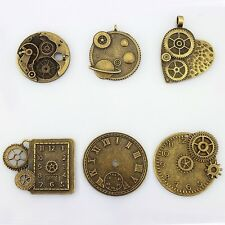 LolliBeads TM Antiqued Bronze Plated Skeleton Steampunk Watch Gear Clock Cog 12