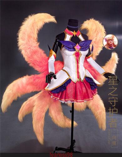 Star Guardien Magic Girl NineTailed Fox Ahri Cosplay Costume Gorgeous Dress free
