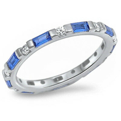 Gemstone Stackable Eternity Anniversary Band .925 Sterling Silver All Sizes!