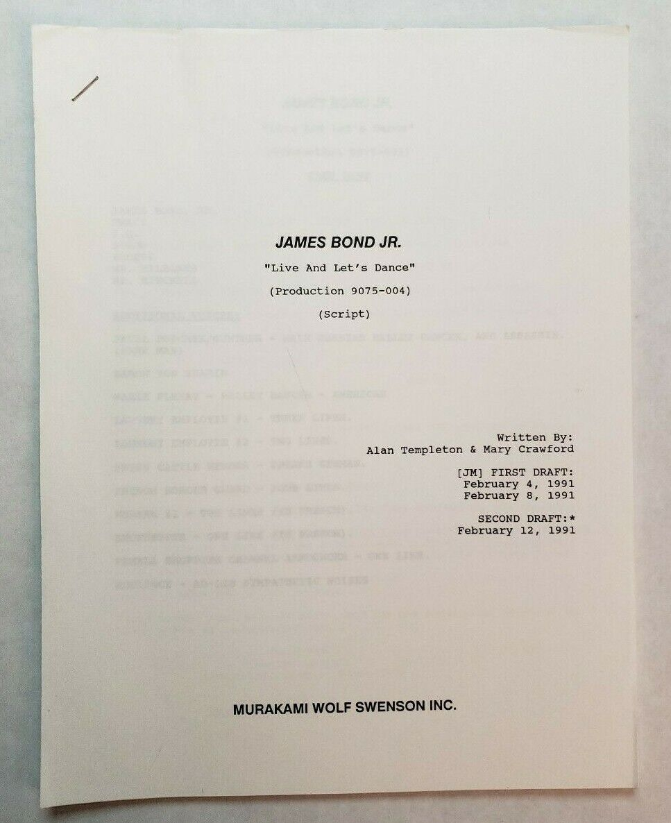 JAMES BOND JR.   Mary Crawford 1991 TV Series Script  Live and Let's Dance