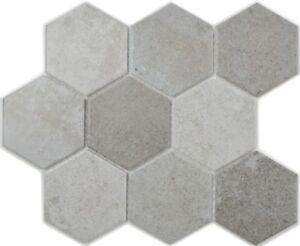 Keramikmosaik Hexagon weiß R10 Fliese Wand Boden Küche Bad 11H-0101/_f