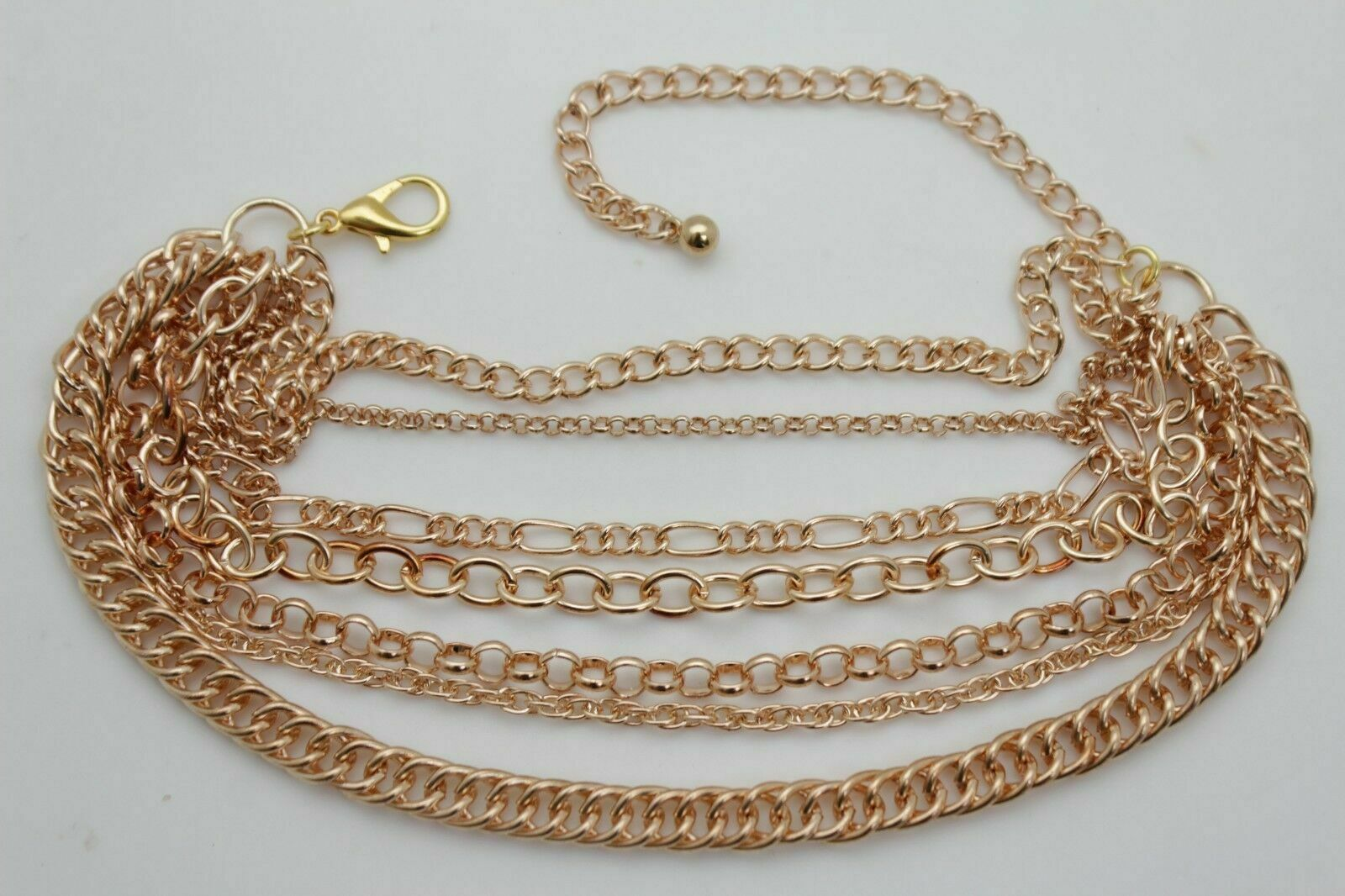 Women Gold Chain Boot Bracelet Anklet Shoe Wave 6 Strands Charm Bling Jewelry
