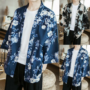 Men-Long-Sleeve-Japanese-Kimono-Yukata-Flower-Open-Front-100-Cotton-Robes-Top