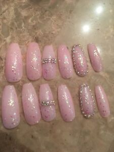 coffin pink nails with diamonds  nail and manicure trends