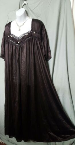 """Comfort Choice BROWN W//TRIM NYLON ANKLE LENGTH NIGHTGOWN  SIZE 3X GIFT 64/"""" BUST"""