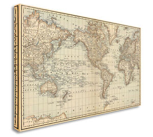 World Map Map Of World Antique Vintage Style Canvas Picture Large - Map of the world antique style