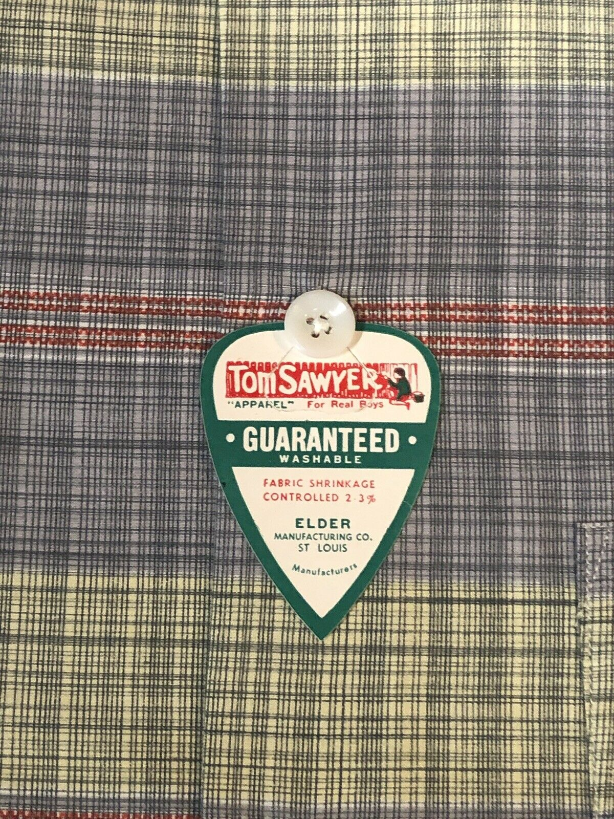 1950s Vintage TOM SAWYER Boy's Plaid Shirt w/ RAR… - image 3