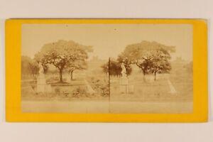 Parigi Giardino Del Palais Royal Francia Foto Stereo c187 Albumina Vintage