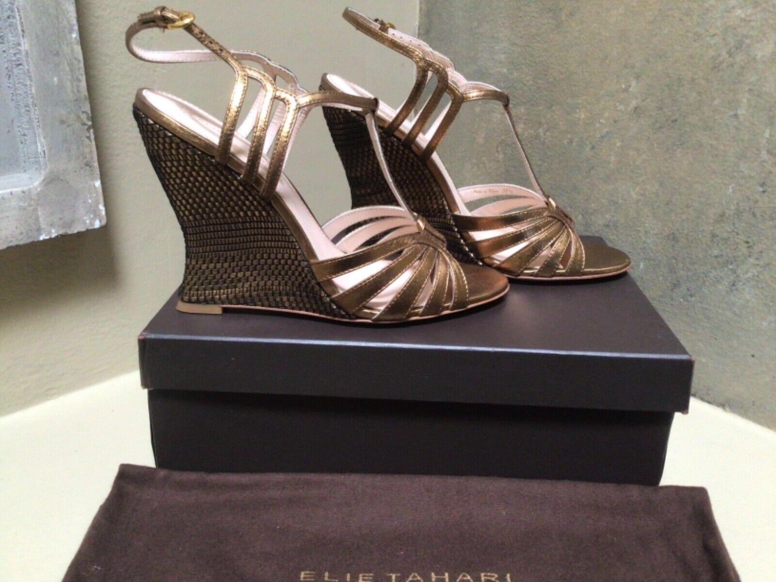 NIB ELIE TAHARI basket weave wedge sandals Metallic Leather bronze shoes 8 US