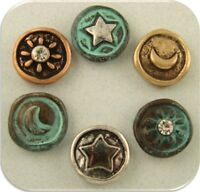 Beads Sun Moon Stars Heavenly Silver Copper Gold 4t Metal 2 Hole Sliders Qty 6