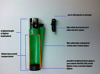 "STASH LIGHTER  WITH ""MEGA STORAGE CAPACITY"" GENUINE CLIPPER, SPARKS!"