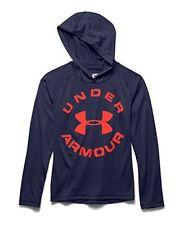 UNDER ARMOUR Boy's UA Tech Hoodie ** BLUE KNIGHT/ORANGE - Small ** NWT