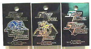 Vintage-Set-of-3-Starship-Troopers-Movie-Enamel-Pins-Mint-on-Card