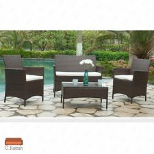 4PC Rattan Wicker Patio Furniture Set Cushioned Sofa & Table Outdoor Garden Lawn
