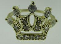 10k Yellow Gold Womens Girls Princess Crown Tiara Ring 2 Grams Size 7 Style B
