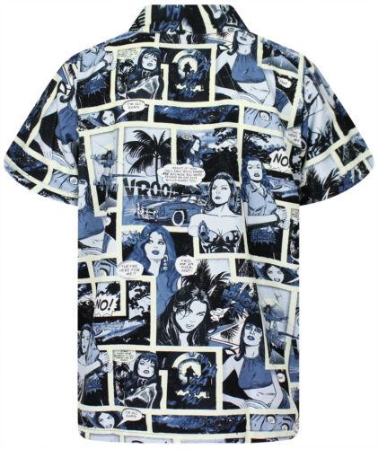Funky Hawaiihemd Comic Mono Schwarz verschiedene Größen Hawaiishirt