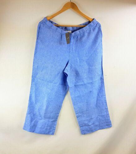 New J Jill Women/'s Love Linen Blue Pull On Cropped Wide Leg Pants MSRP $69.00