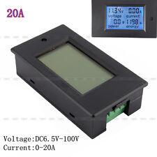 DC Battery 6.5-100V 20A LCD Spannung Volt Watt Leistungsmesser Amperemeter Volt