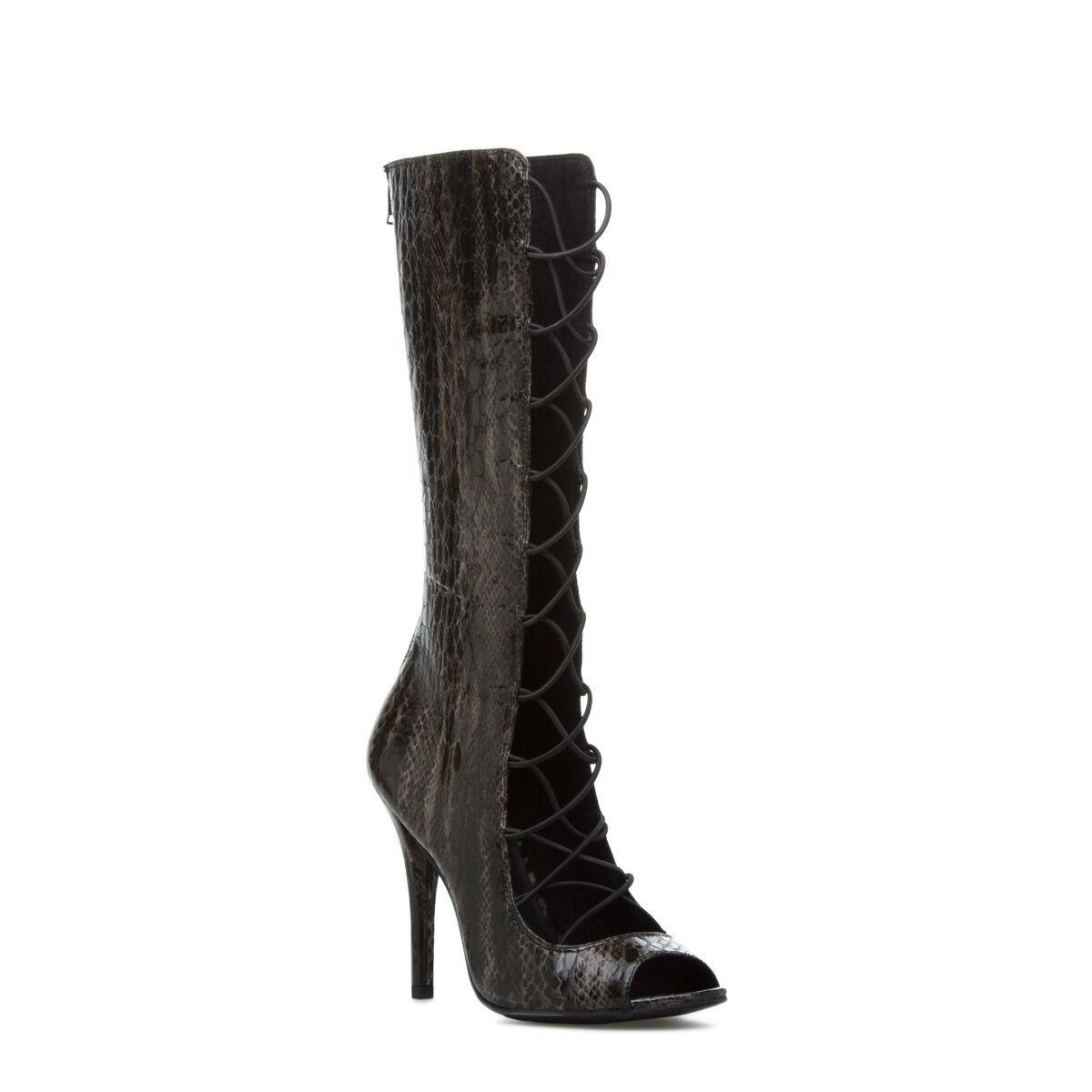 ny Sexy läder Knee High Boot Heel Heel Heel av Paper Fox   Lace -up Styling Storlek 7.5  köpa billiga nya