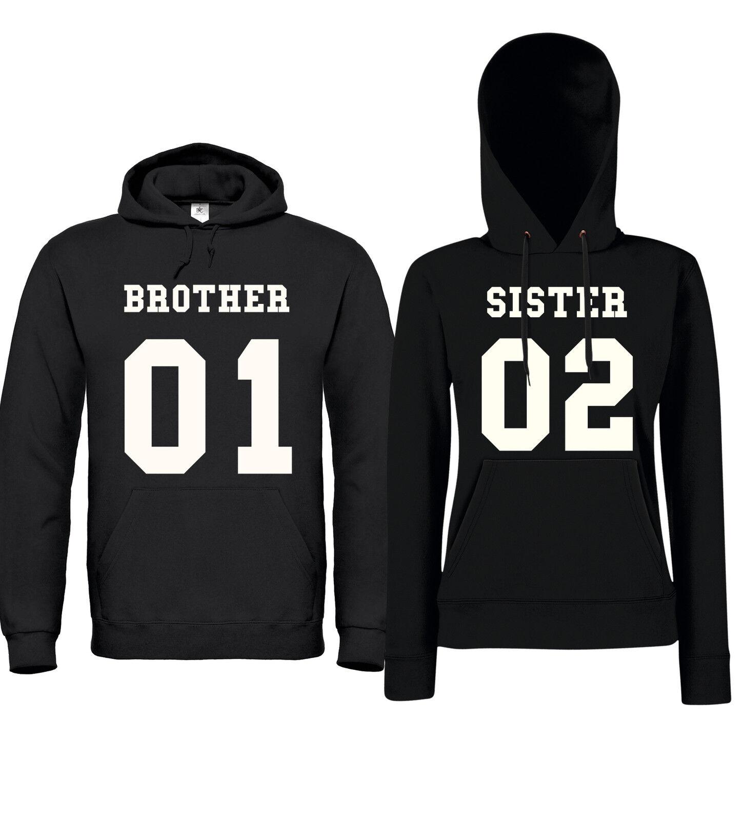BROTHER + SISTER 01/02  - Partner Hoodies - Friends Freunde Geschwister Geschenk