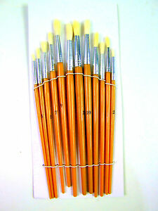 12 Tête Ronde Artiste Large Long Manche En Bois Peinture Brush Set Art Craft-afficher Le Titre D'origine