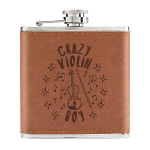 Crazy-Violon-Garcon-Stars-170ml-Cuir-PU-Hip-Flasque-Fauve-Musique-Son-Violoniste
