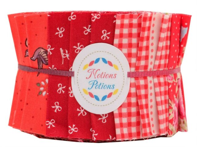 "Jelly Roll Shine Red Polka Dot Floral Rose Fabric Roll 2 1/2"" 27 Patch Work"