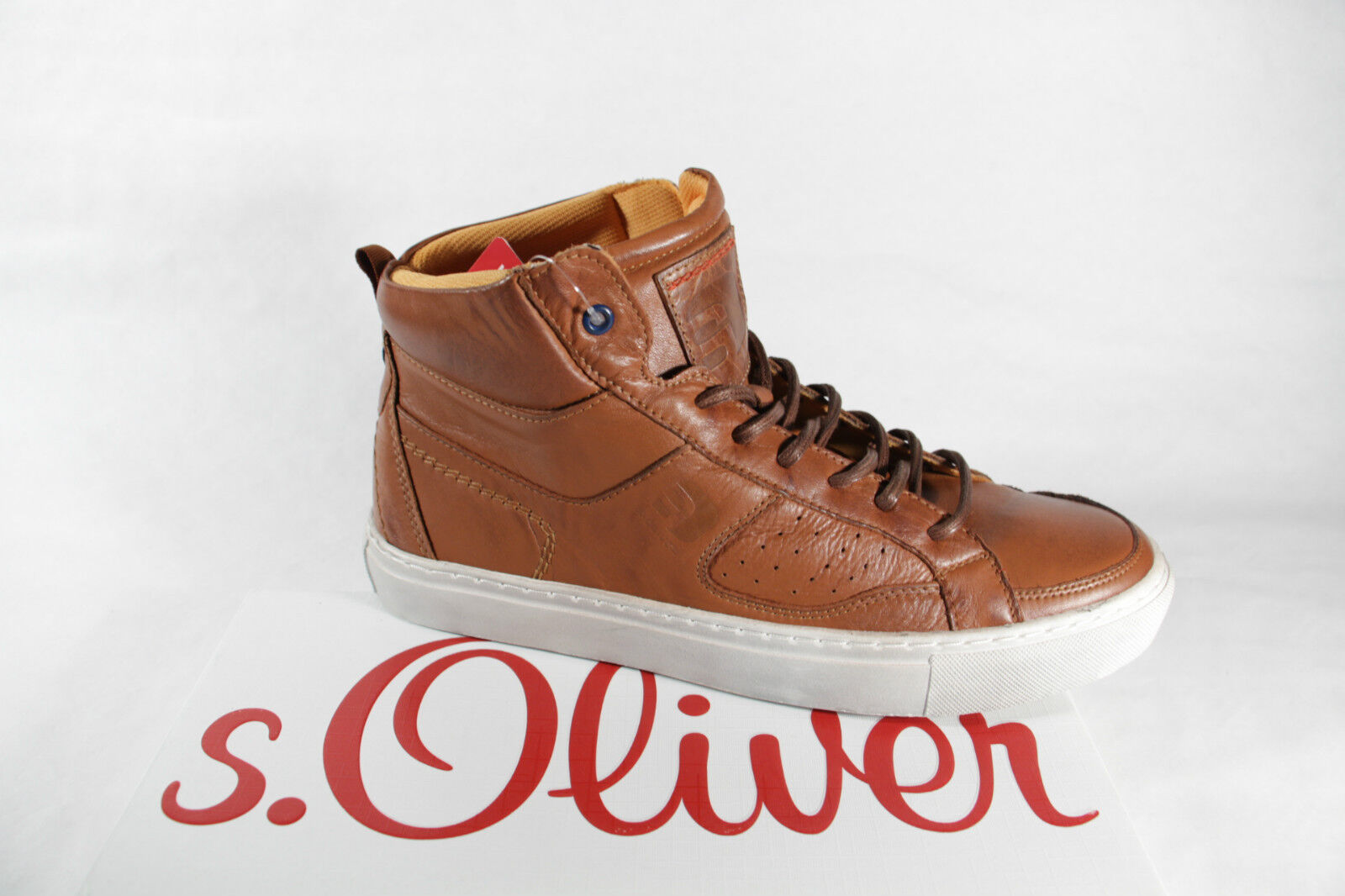 Grandes zapatos con descuento s. Oliver Botas Para Atar, marrón, forro de tela, suela de goma NUEVO