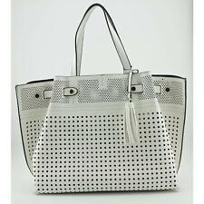 Urban Expressions Perforated Women White Tote Blemish  12908