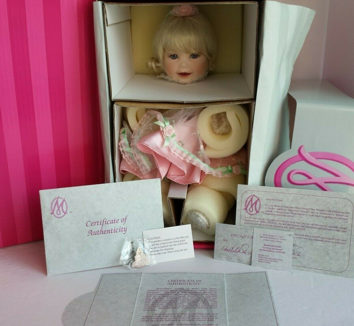COA  14449 NEW AND NFRB MARIE OSMOND QUEEN ELIZABETH PORCELAIN DOLL