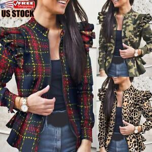 Women Puff Sleeve Patchwork Coat Ladies Casual Printed Zip Up Jacket Blazer Tops