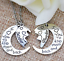 Mother and Daughter 1//2 heart moon pendant necklaces