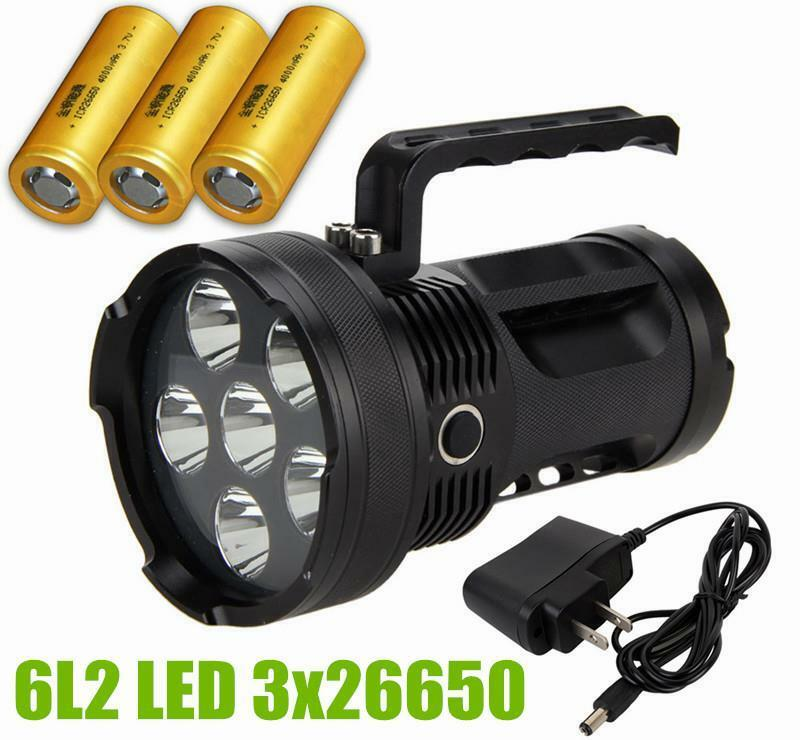 Super 9000 Lumen Rechargeable CREE LED Tactical  Flashlight 6L2 Spotlight 4x26650  after-sale protection