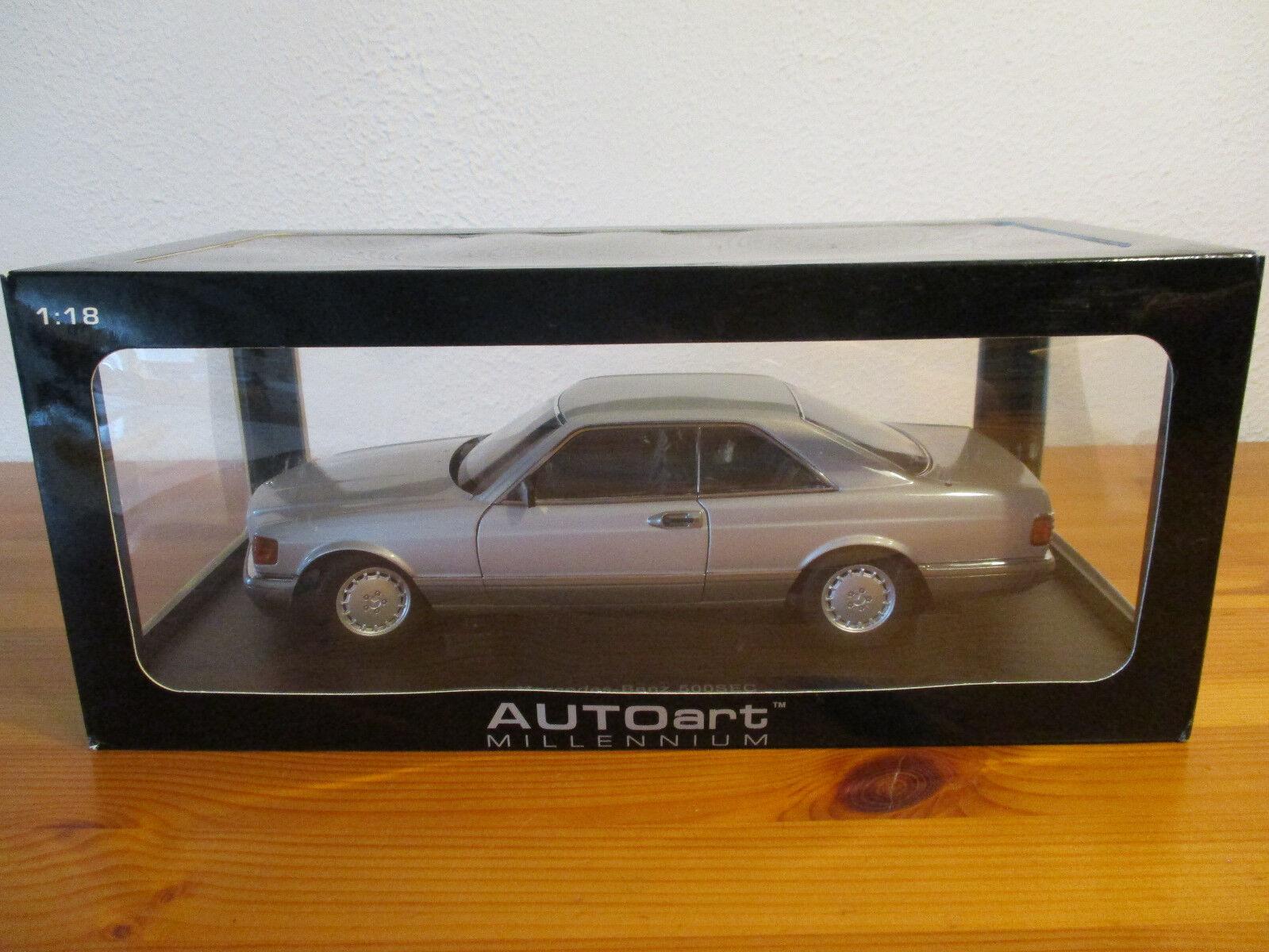 ( Gor ) 1 18 Autoart Mercedes Benz 500 Sec Coupé 1986 Argent Neuf Emballage