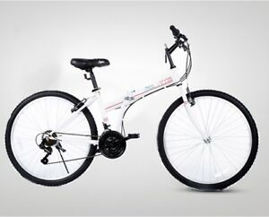 Folding-Bikes-26-039-039-White-Folding-Bicycle-21-Speed-Women-Men-Bike-Fold-Commuter