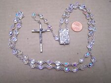 Lourdes Rosary with Crystal Beads and Holy Water Reliquary Centerpiece - France