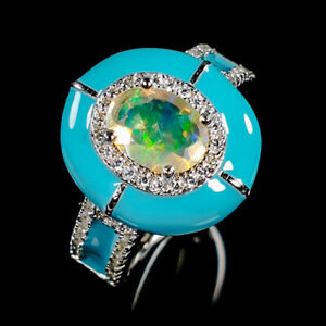 Beauty-Rainbow8x6mm-Natural-Opal-925-Sterling-Silver-Ring-Size-7-75-R87738