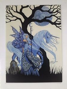AMY BROWN NEW & MINT FAIRY POSTCARD /MINI ART PRINT Blue Moon Faerie and Unicorn