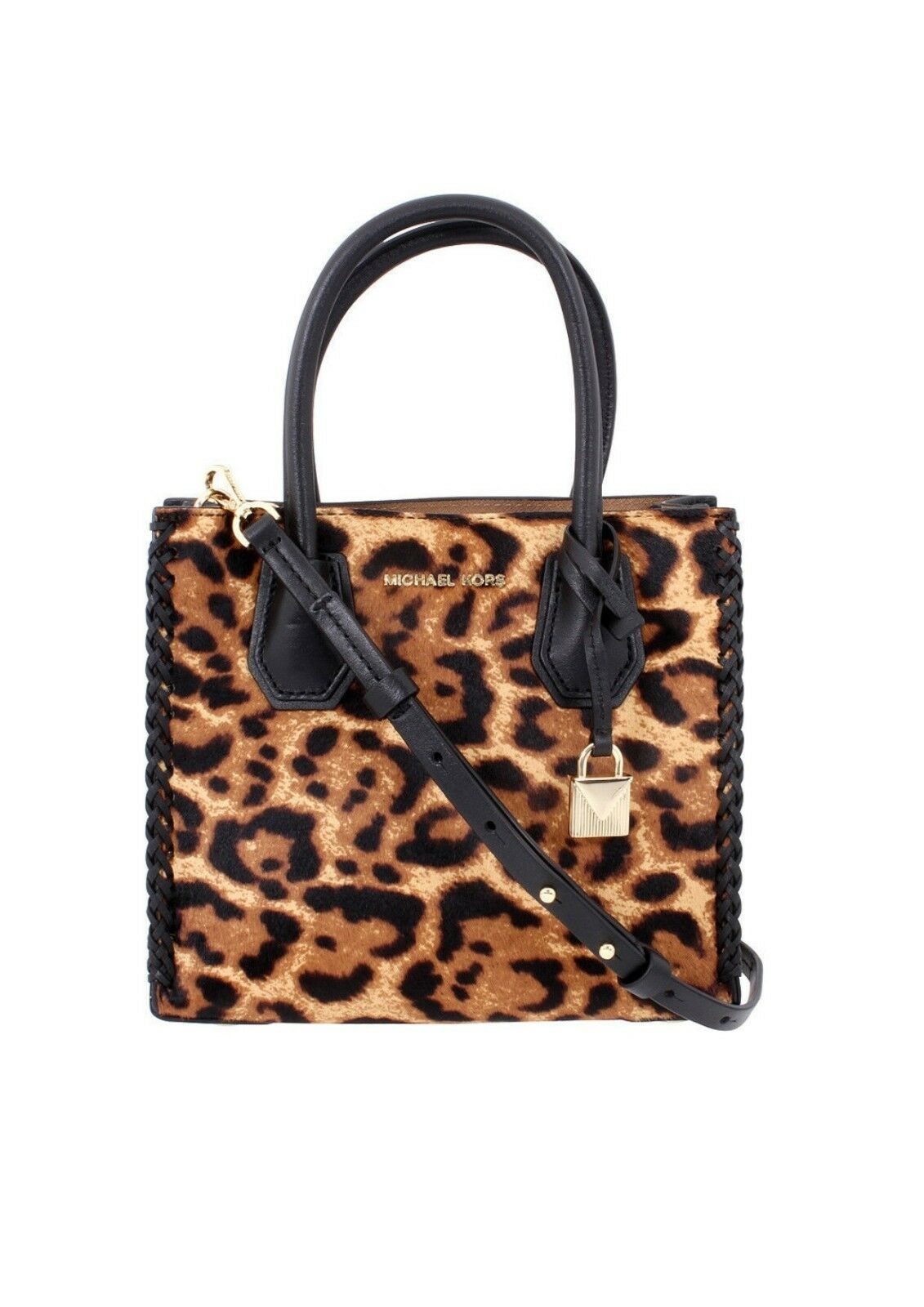 961a6e036aa2 Michael Kors Mercer Leopard Calf Hair Crossbody Butterscotch With ...