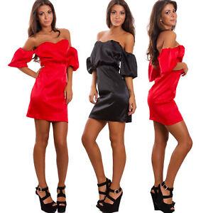 sale retailer 44820 ab929 Dettagli su Vestito donna tubino mini abito elegante spalle nude maniche  sbuffo GI-W238