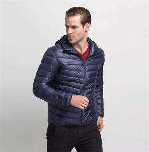Men's Boy Duck Down Feather Ultralight Jacket Hooded Padded Coat ...